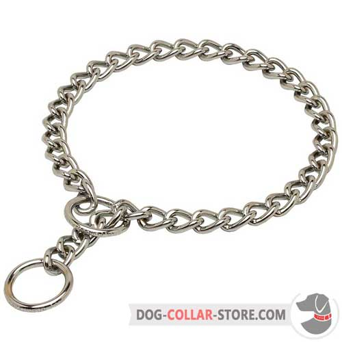 Steel Chrome Plated Choke Dog Collar with O-ring for Leash Attachment