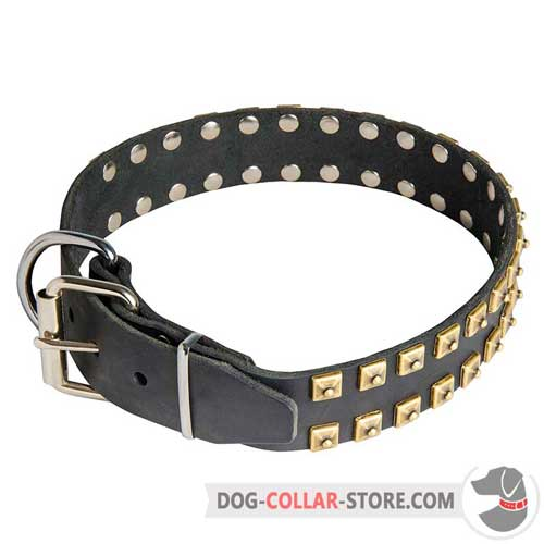 Easy Adjustable Leather Dog Collar with Buckle