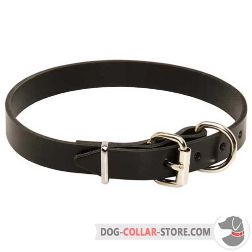 Adjustable Leather Dog Collar with Reliable Nickel Plated Buckle