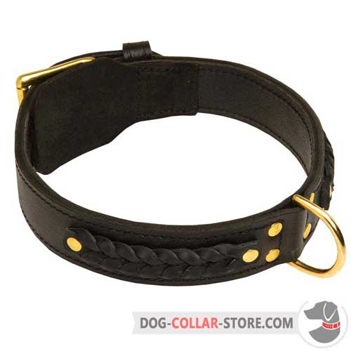 Hand Braided Leather Dog Collar for Stylish Walking