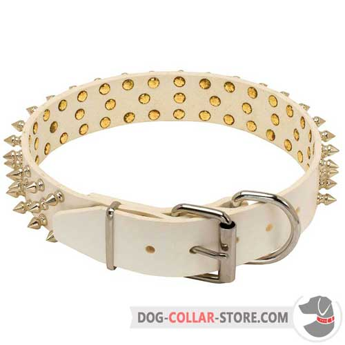 Leather Dog Collar of Spiked Design