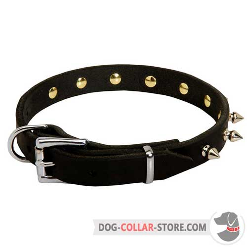 Durable Leather Dog Collar with Nickle Plated Buckle
