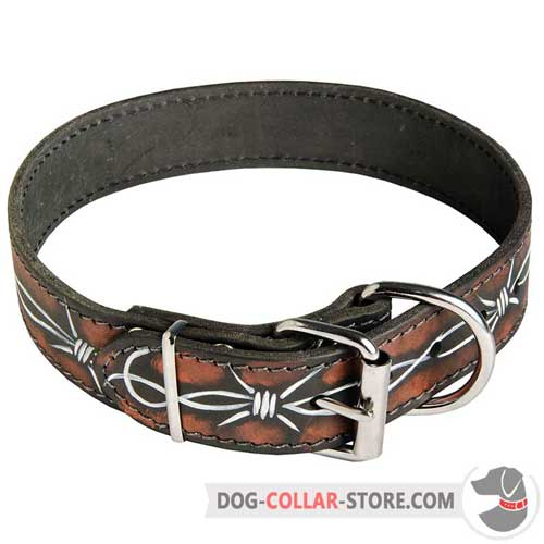 Hand Painted Leather Dog Collar With Rust Proof Nickel Plated Buckle