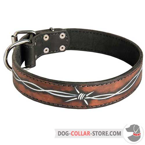 Designer Leather Dog Collar Hand Painted with Barbed Wire