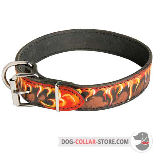 Hand Painted Flames Designer Leather Dog Collar with Nickel Plated Hardware