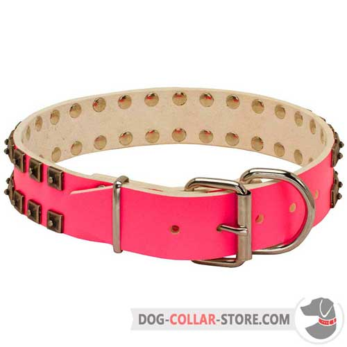 Easy Adjustable Pink Leather Dog Collar with Buckle