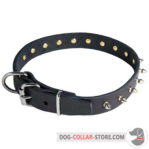 Spiked Design Leather Dog Collar with Nickel-Plated Buckle
