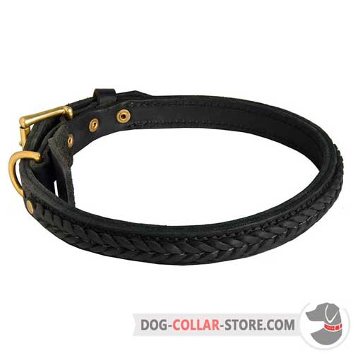 Braided Two Ply Leather Dog Collar for Walking in Style