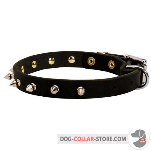 Walking Leather Dog Collar with Spiked Decorations