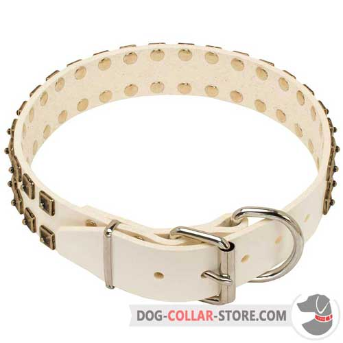 Easy Adjustable White Leather Dog Collar with Buckle