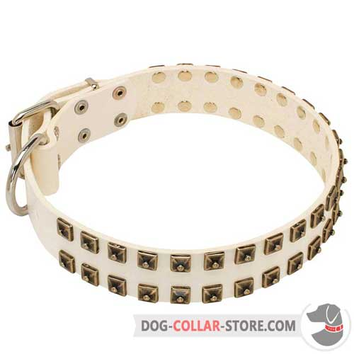 Handcrafted White Leather Dog Collar for Regular Training
