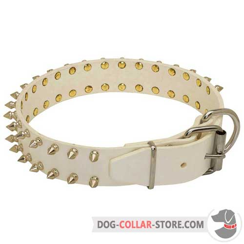 Super Solid White Leather Dog Collar with Buckle