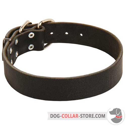 Classic Design Wide Leather Dog Collar for Comfortable Walking