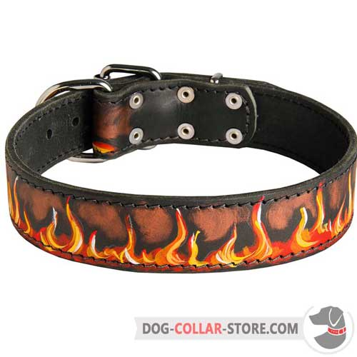Adjustable Leather Dog Collar with Hand Made Flames Painting