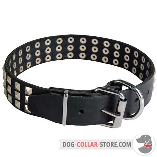 Leather Dog Collar Equipped with Nickel Plated Fittings