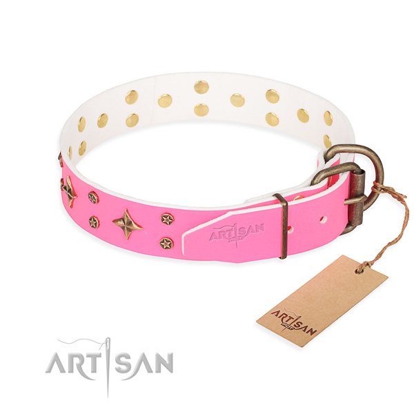 Handy use genuine leather collar with embellishments for your four-legged friend