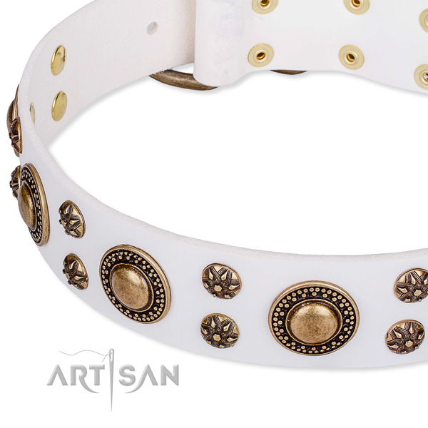Natural genuine leather dog collar with top notch adornments