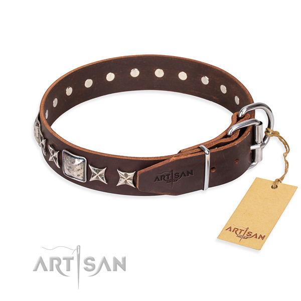 Walking leather collar with decorations for your canine