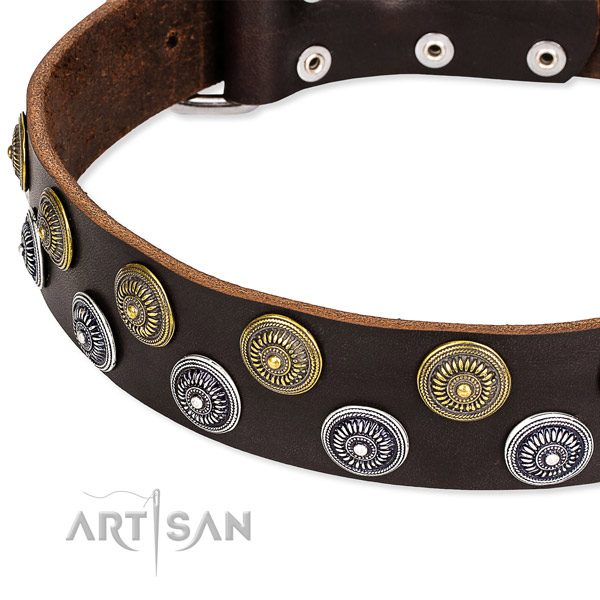 Genuine leather dog collar with inimitable embellishments