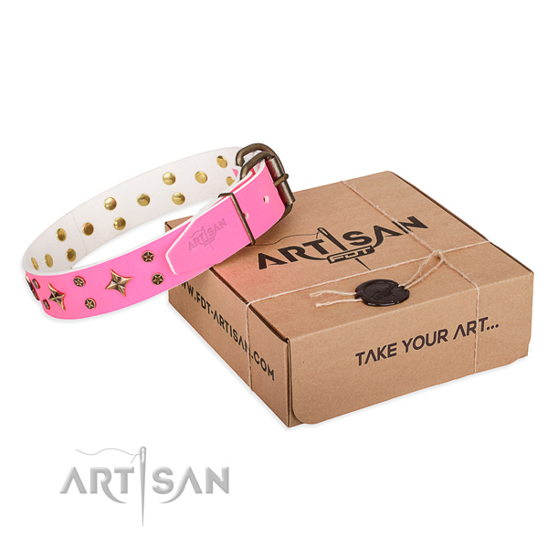 Adorned full grain genuine leather dog collar for handy use