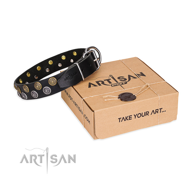 Full grain natural leather dog collar with decorations for daily use