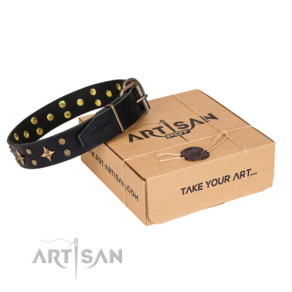 Adorned natural genuine leather dog collar for daily walking