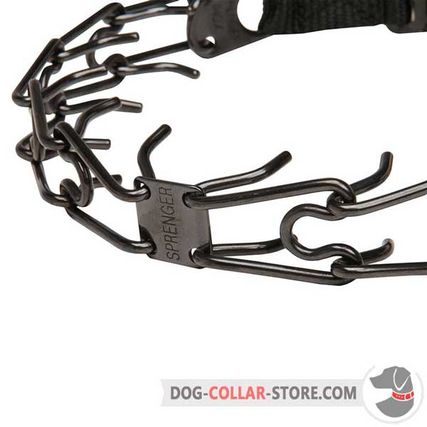 Stainless steel links of dog prong collar