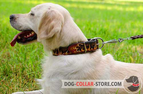 Stylish Leather Golden Retriever Collar with Painted Flames