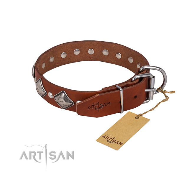 Full grain genuine leather dog collar with smoothly polished leather surface