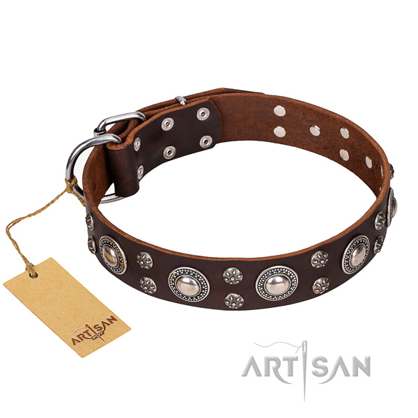 Indestructible leather dog collar with rust-proof elements