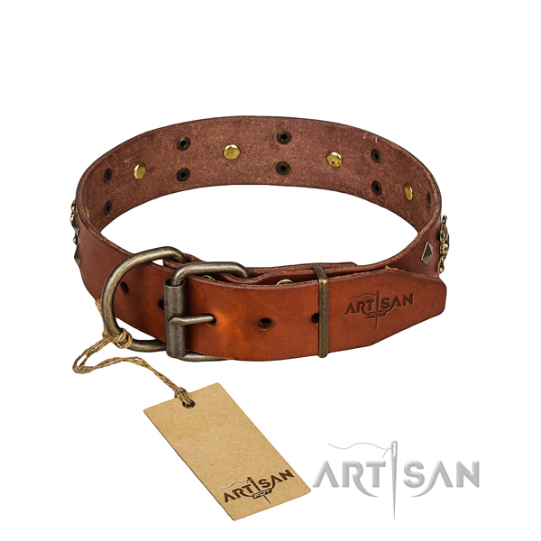 Leather dog collar with thoroughly polished edges for comfy walking
