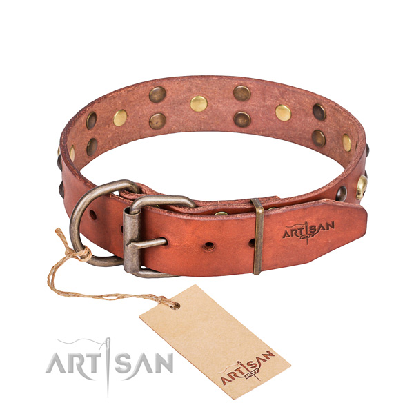 Leather dog collar with smoothed edges for comfy everyday appliance