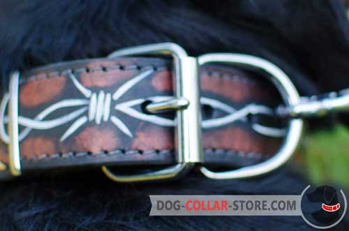 Nickel Plated Fittings on Hand Painted Leather Dog Collar