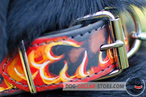 Nickel Plated Fittings on Painted Leather Dog Collar