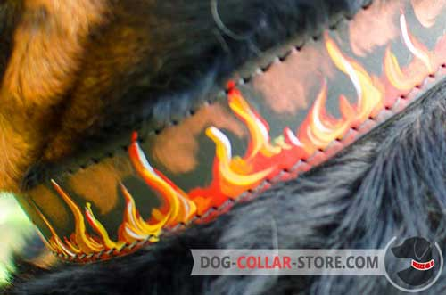 Flames Hand Painting on High Quality Leather Dog Collar