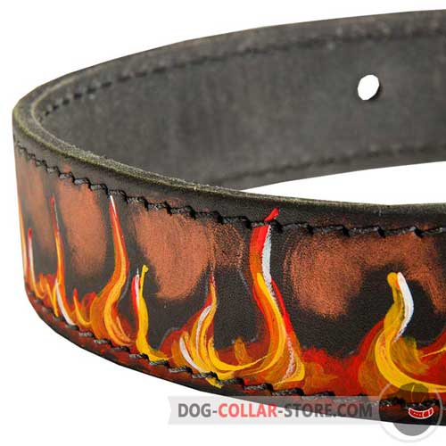 Hand Made Painting of Designer Leather Dog Collar