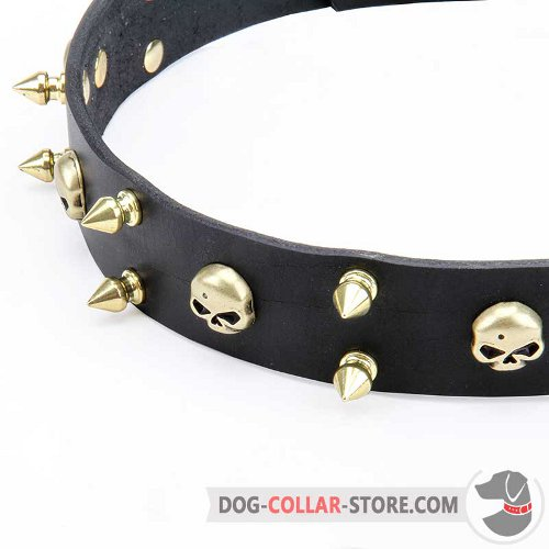 Leather Dog Collar with nickel-plated furniture