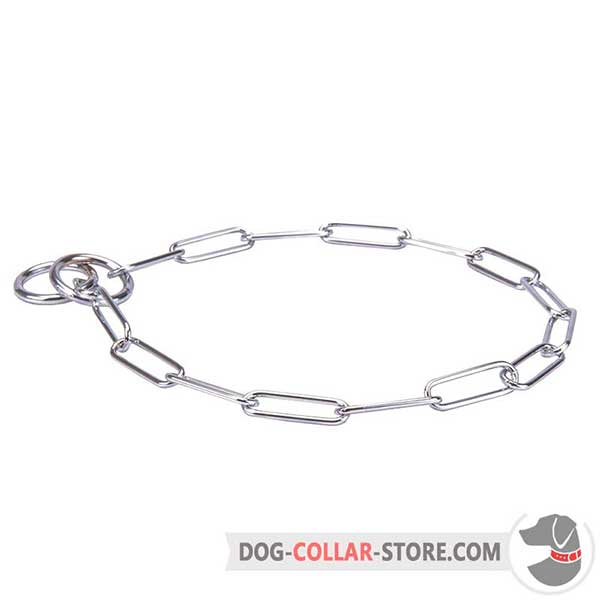 Dog metal collar with long links