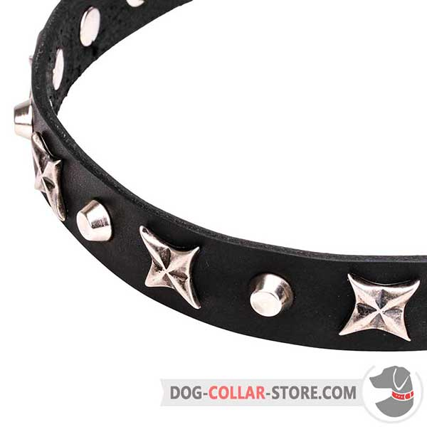 Chrome plated Cones and Stars on Narrow Dog Collar