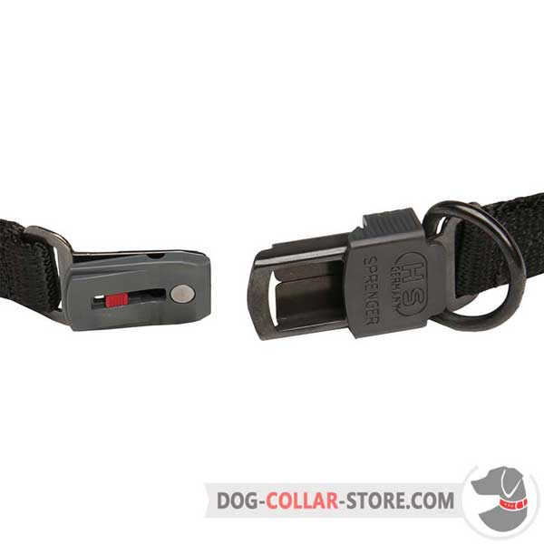 Dog pinch collar's click lock buckle