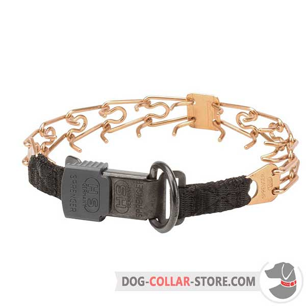 Dog training prong collar with reliable buckle