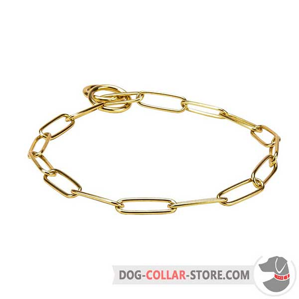 Dog brass collar with fur saving links