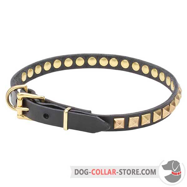 Leather Collar for Dogs, 3/4 inch wide