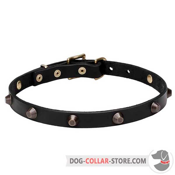 Strong Leather Dog Collar, 3/4 inch wide