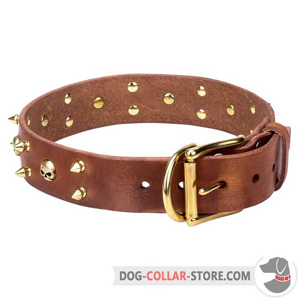Decorative Leather Dog Collar made in tan