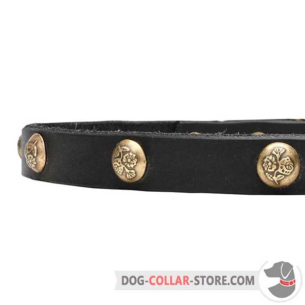Dog Leather Collar, closer view