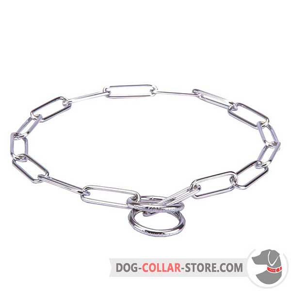 Dog fur saver collar made of chrome-plated steel