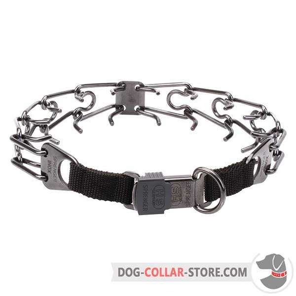 Dog training collar with inside prongs