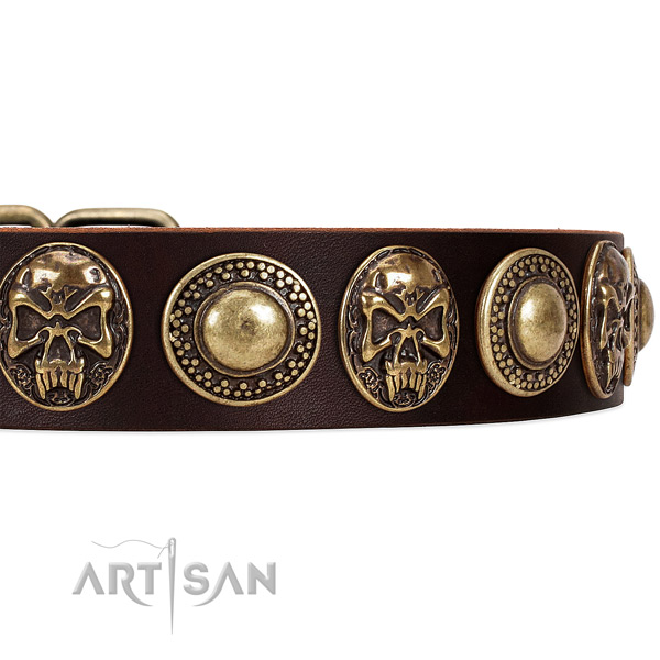 Leather dog collar with adornments for easy wearing