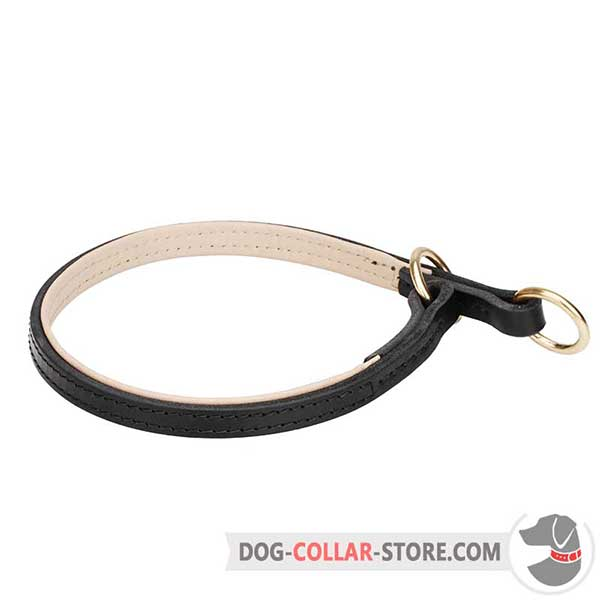 Nappa Padded Leather Dog Choke Collar for Behaviour Correction
